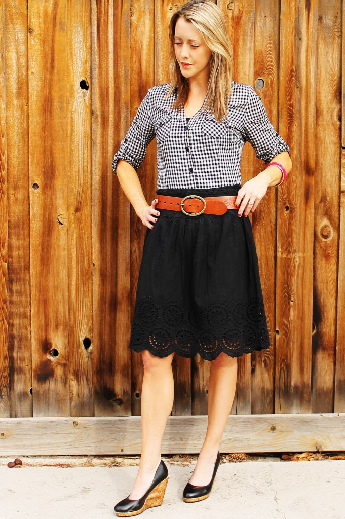 black and white checkered button up, black skirt, brown belt 2 - PSE
