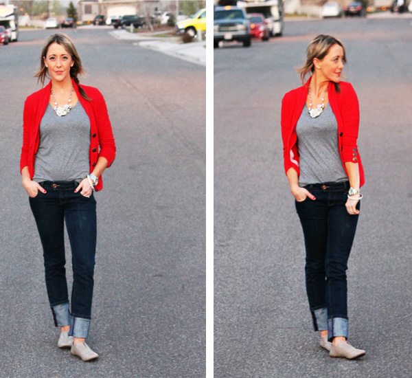 Combined Bottom Pics - Red blazer + oxfords