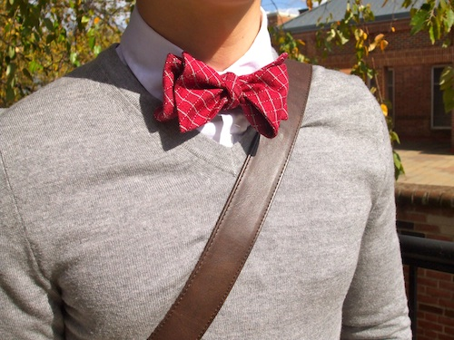 Mens sweater with bow tie