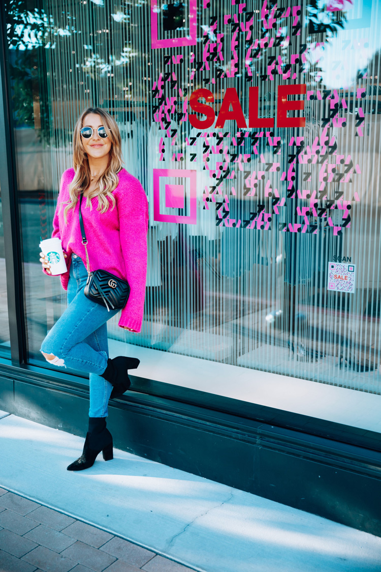 Spring essentials featured by top US fashion blog, For the Love: image of a woman wearing a BP pink sweater, Steve Madden sock booties, TOPSHOP ripped jeans, Gucci shoulder bag, Ray-Ban round sunglasses, Gucci Double G belt and Turkish coin necklace